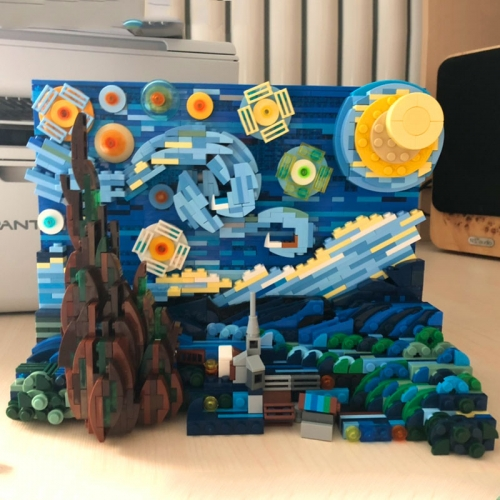 In Stock 1830Pcs DK3001 Vincent van Gogh The Starry Night Painting Building Blocks Bricks Creator Expert Toys Model