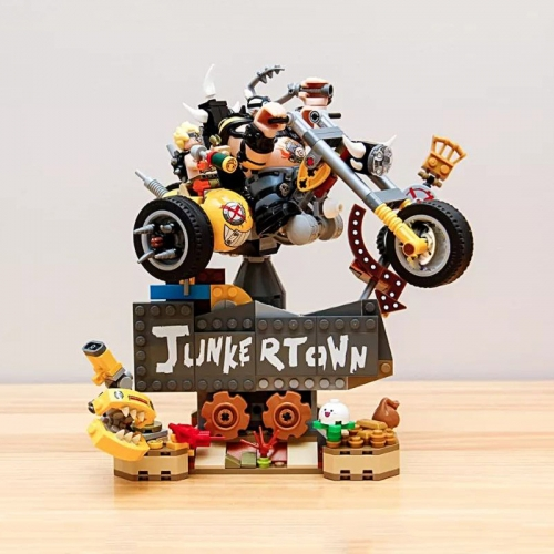 In Stock 85035 Overwatch Junkrat & Roadhog 380Pcs Building Blocks Bricks Junker Town Game Series 75977