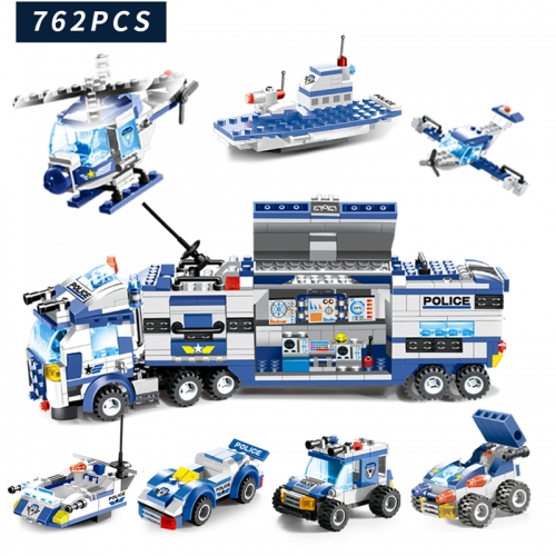 City Series Poli-ce Station Helicopter Mobile Command Vehicle Moc Model Modular Building Blocks Toys PX-130-1 825Pcs