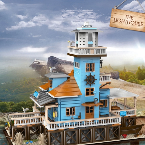 Pangu Creator Expert Street View The Lighthouse 2375Pcs PG-12002 Moc Model Modular Building Blocks Bricks Toys