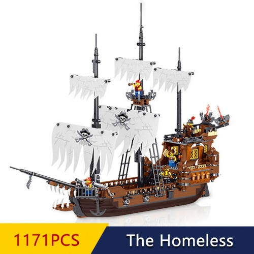 Pirates Of The Caribbean The Homeless Ship QL1802 1171Pcs Moc Model Modular Building Blocks Bricks Toys